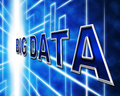 Big data indicates info knowledge and information showing byte Stock Image