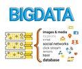 Big data v visualisation infographic concept flat contour illustration of Royalty Free Stock Images