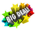 Big deal words stars fireworks important news sale the in colorful or to spread the word of a special clearance event or or other Stock Photo