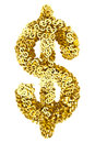 Big dollar sign composed of many golden small dollar signs on white background high resolution d image Stock Image