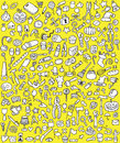 Big doodle icons set collection numerous small hand drawn illustrations vignettes various themes black white illustration eps mode Stock Image
