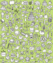 Big doodle icons set collection numerous small hand drawn illustrations vignettes various themes black white illustration eps mode Stock Photography
