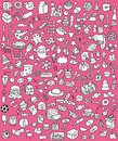 Big doodle icons set collection numerous small hand drawn illustrations vignettes various themes black white illustration eps mode Stock Images