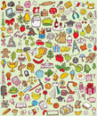 Big doodle icons set collection numerous small hand drawn illustrations vignettes various themes individual icons grouped version Stock Image