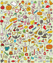 Big doodle icons set collection numerous small hand drawn illustrations vignettes various themes individual icons grouped version Stock Images