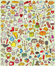 Big doodle icons set collection numerous small hand drawn illustrations vignettes various themes individual icons grouped version Stock Photography
