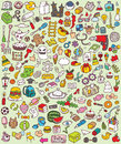 Big doodle icons set collection numerous small hand drawn illustrations vignettes various themes individual icons grouped version Royalty Free Stock Photos
