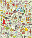 Big doodle icons set collection numerous small hand drawn illustrations vignettes various themes individual icons grouped version Royalty Free Stock Images