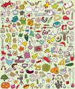 Big doodle icons set collection numerous small hand drawn illustrations vignettes various themes individual icons grouped version Stock Photo