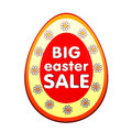 Big easter sale banner d red egg shape label white text flowers business concept Royalty Free Stock Image