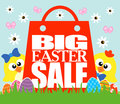 Big easter sale funny chickens card Stock Images