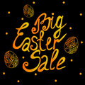 Big Easter sale gold lettering typography with eggs Royalty Free Stock Photo