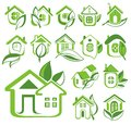 Ecology house icon set Royalty Free Stock Photo