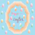 Big ellipse egg and colorful small eggs greeting card easter background