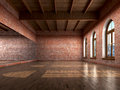 Big empty room in grange style with wooden floor, Royalty Free Stock Photo