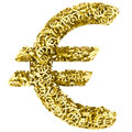 Big euro sign composed of many golden small euro signs on white background high resolution d image Stock Photo