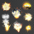 Big explosions set on transparent background Stock Photos