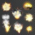 Big explosions set on transparent background Stock Photos