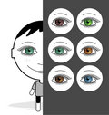 Big eyes girl & colored eyes Royalty Free Stock Images
