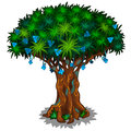 Big fairy tree with blue flowers and energy veins