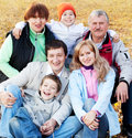 Big family with grandparents in autumn park Stock Photos
