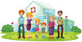 A big family near the hospital illustration of on white background Royalty Free Stock Photo