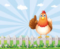 A big fat hen above the fence illustration of Stock Photography