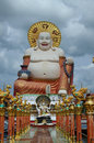 Big fat laughing buddha located on the tropical island of koh samui thailand a Royalty Free Stock Photography