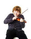Big fat red-haired boy with small violin Royalty Free Stock Photo