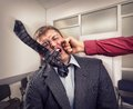 Big fight in office room worker fighting with employee Royalty Free Stock Photography