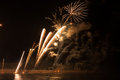 Big fireworks arles city france over rhã ne river july Stock Image