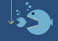 Big fish eat little fish, hook and worm bait Royalty Free Stock Photo