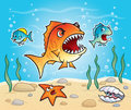 Big fish about to chomp a little fish cartoon illustration of with sharp teeth down on scared in the ocean while starfish clam Stock Image