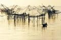 Big fishing net and the fisherman