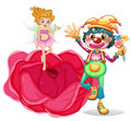 A big flower with a fairy and a clown illustration of on white background Stock Image