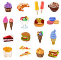 Big FOOD colored sketched VECTOR set, fast food