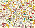 Big food kitchen collection fine small hand drawn illustrations individual icons grouped version illustration eps mode Royalty Free Stock Image
