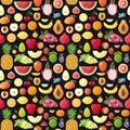 Big fruits seamless vector pattern. Modern flat design.