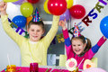Big funny birthday party happy little children are having fun in a Royalty Free Stock Images