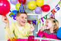 Big funny birthday party happy little children are having fun in a Royalty Free Stock Photos