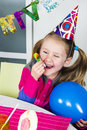 Big funny birthday party happy little girl how have fun in a Stock Photos