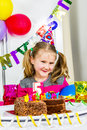 Big funny birthday party happy little girl how have fun in a Royalty Free Stock Photos