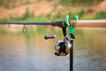 Big game fishing reel and rod close up Royalty Free Stock Photos