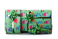Big giftbox bounded with green ribbon on white Stock Photo