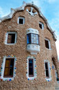 Big ginger house in park guell at barcelona back fachade spain Royalty Free Stock Photo