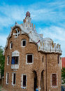 Big ginger house in park guell at barcelona side view spain Royalty Free Stock Images
