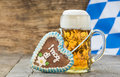 Big glass of lager beer in Bavaria at Oktoberfest in Munich Royalty Free Stock Photo