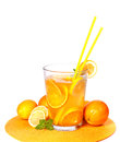 Big Glass of orange and lemon juice Stock Photo