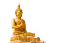 Big Golden Buddha statue in Thailand temple isolate on white background with clippingpath Royalty Free Stock Photo