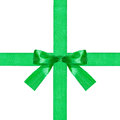 Big green bow knot on two crossing silk ribbons Royalty Free Stock Photo